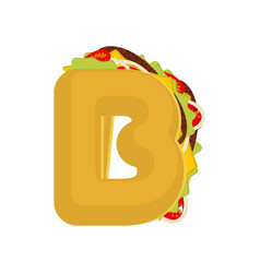 Letter b tacos mexican fast food font taco vector