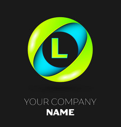 letter l logo symbol in the colorful circle vector image