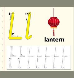 Letter l tracing alphabet worksheets vector