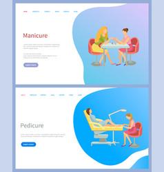 manicure and pedicure spa procedures salon vector image