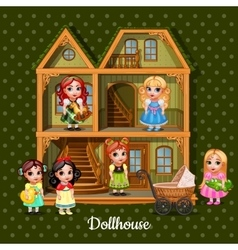 Modern three-storey dolls house with six dolls vector image