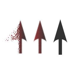 moving dot halftone arrow axis y icon vector image