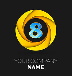 number eight logo symbol in colorful circle vector image