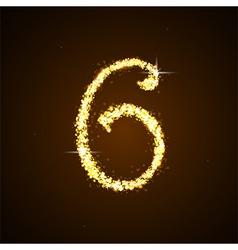 Number six gold glittering stars vector