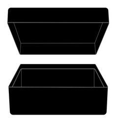 open box outline black drawing vector image