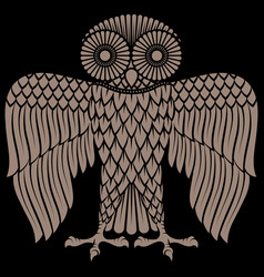 Owl painted in retro style owl logo vector
