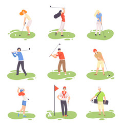 people playing golf set male and female golfer vector image