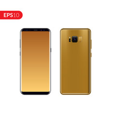 Phone mobile smartphone with gold color vector
