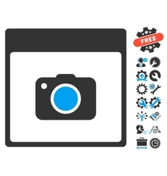 Photo Camera Calendar Page Icon With Bonus vector