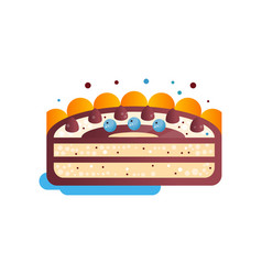 piece of layered delicious cake with chocolate and vector image