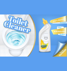 Poster of toilet cleaner ads flushing vector