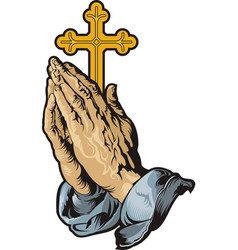 praying hands with cross vector image