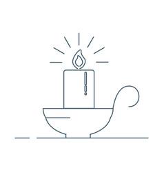 retro candle light burn wax icon vector image