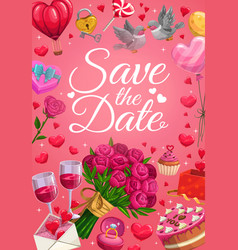 save date wedding ring and heart balloons vector image
