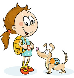 School girl and dog with schoolbag vector