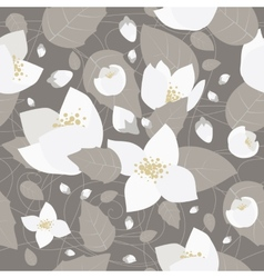 Seamless monochrome flower pattern vector image