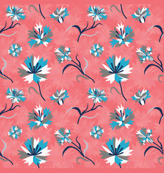 seamless vintage floral pattern with corn flowers vector image