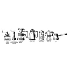 set coffee preparation vector image