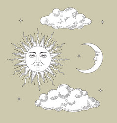 set collections hand drawn sun and the moon with vector image