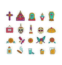 Set colorful solid icons for celebration dia vector