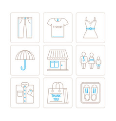 set of clothes icons and concepts in mono thin vector image