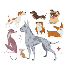 Set of funny purebred dogs vector