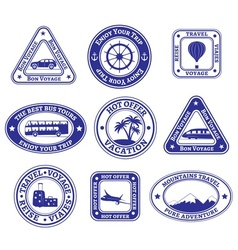 Set of travel and tourism stamps and badges vector