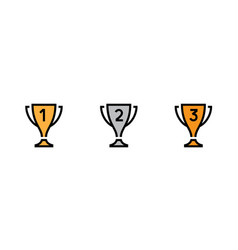 set trophy cup icons editable stroke vector image