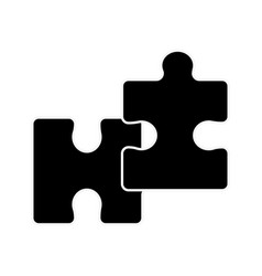 silhouette piece puzzle mental game line icon vector image