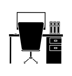 Silhouette workplace office space equipment design vector