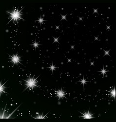 silver stars black night sky background abstract vector image