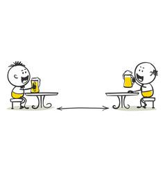 Social distance in a cafe vector