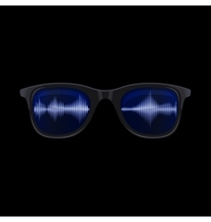 Sunglasses with Sound Wave Reflection vector image