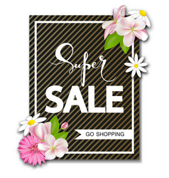super sale background with beautiful flowers vector image