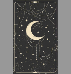 Tarot card with a crescent moon and stars magic vector