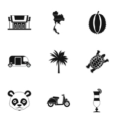 Thailand icons set simple style vector