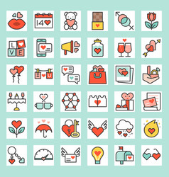 valentine outline icon set vector image