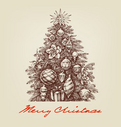 Vintage christmas tree hand drawing retro style vector
