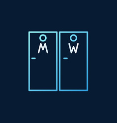 wc doors colored linear icon on dark vector image
