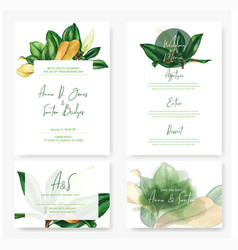 wedding cards kit with watercolor magnolia leaves vector image