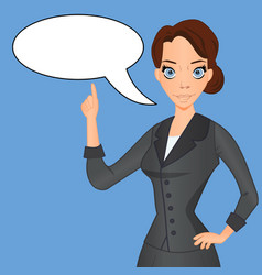 Woman in business suit with speech bubble vector