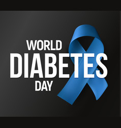 World diabetes day banner blue ribbon vector