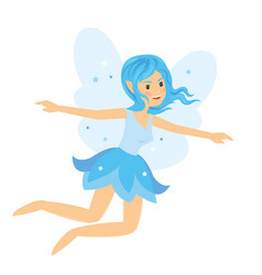 Young pretty angelic fairy girl flying and rise vector