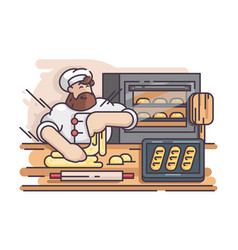 baker kneads and cooking dough vector image