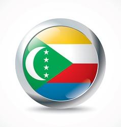 Comoros flag button vector image vector image
