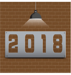 happy new year 2018 on brown brick floor and vector image vector image