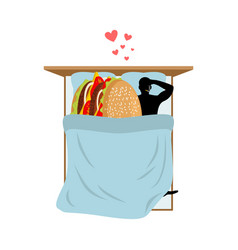lover fast food man and hamburger in bed guy and vector image vector image