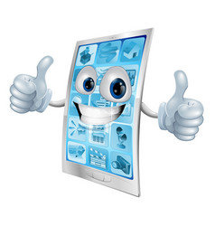 mobile phone mascot double thumbs up vector image vector image