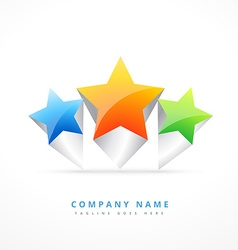three star logo template design vector image vector image