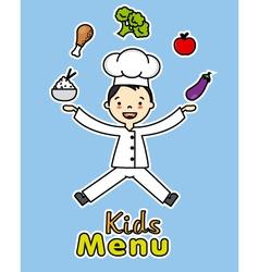 boy chef with healthy food vector image